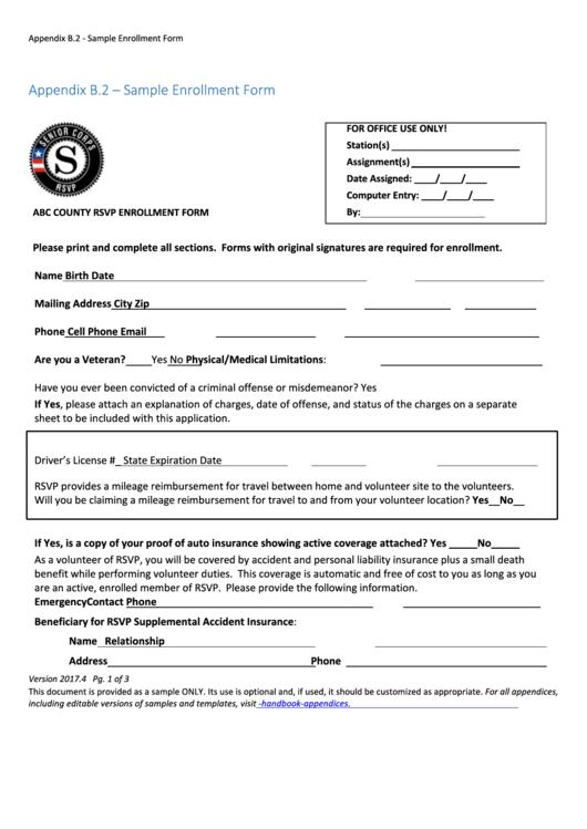 Appendix B.2 - Sample Enrollment Form
