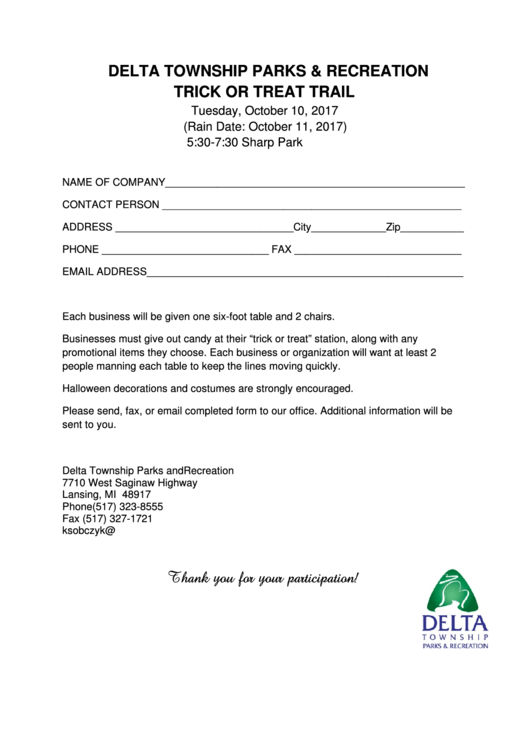 Fillable Trick Or Treat Trail - Company Participation Application Printable pdf