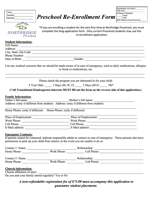 Preschool Re Enrollment Form  Enrolment Form Template