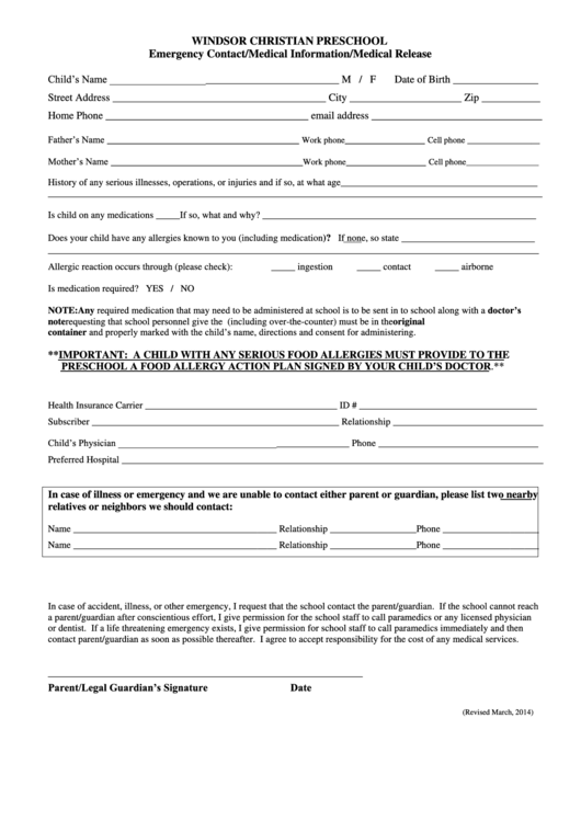 top 8 preschool enrollment form templates free to download in pdf format