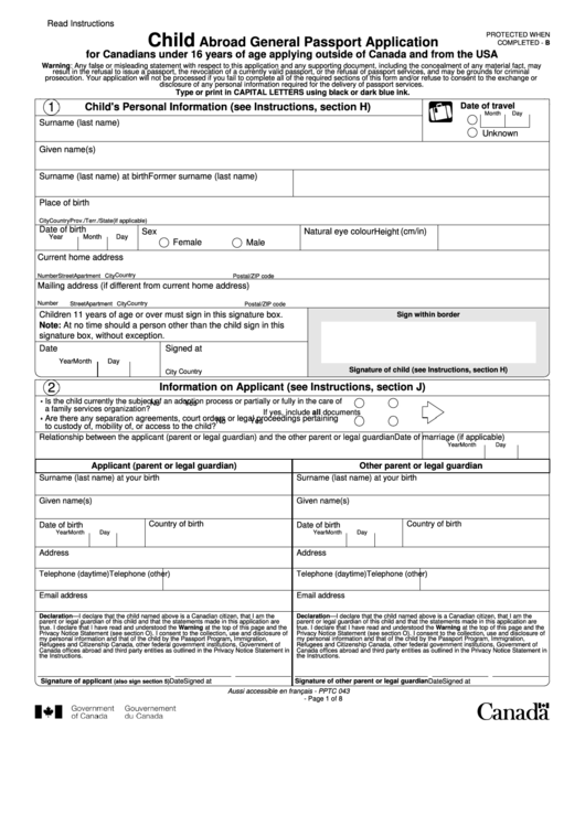 Fillable Child Abroad General Passport Application For Canadians