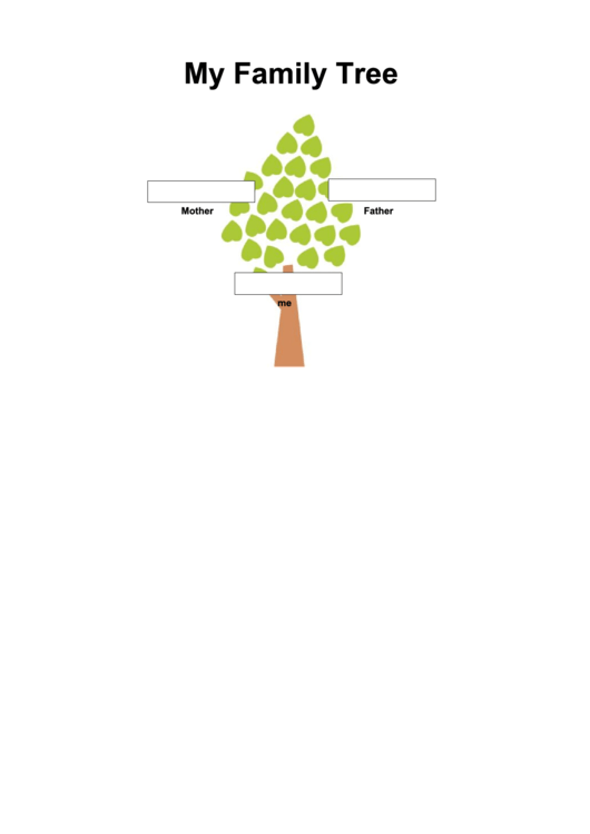 2 Generation Family Tree In Color Template Printable pdf