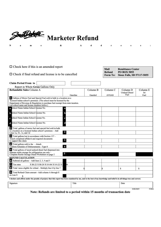 Dor/dmv Form 573 - Marketer Refund Printable pdf
