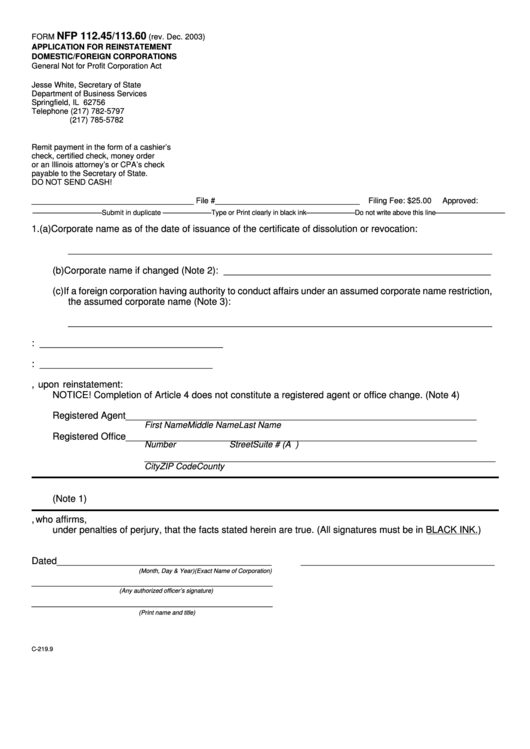 Fillable Form Nfp 1124511360 Application For Reinstatement