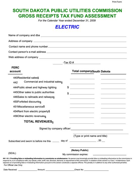 Fillable Gross Receipts Tax Fund Assessment - South Dakota Public Utilities Commission - 2009 Printable pdf