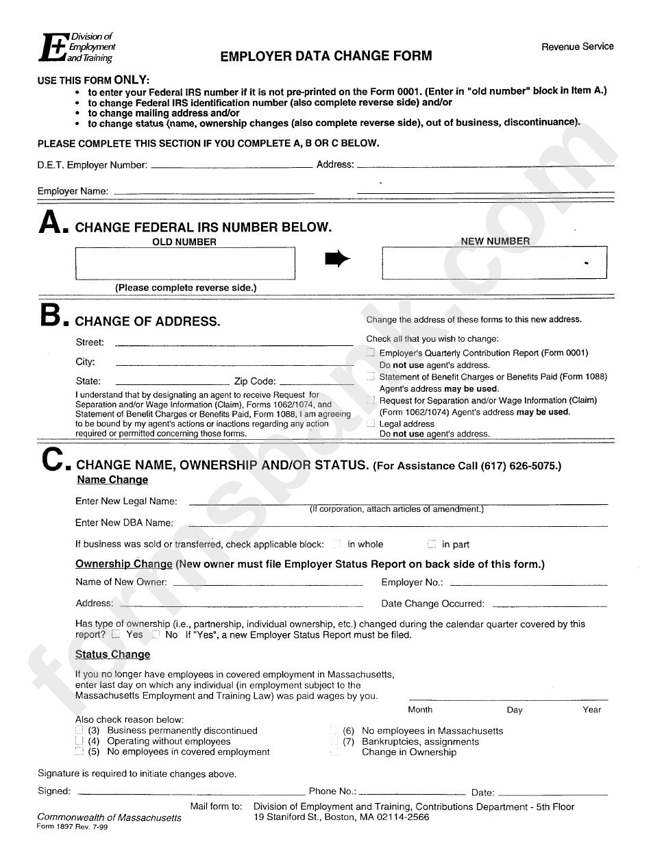 Form 1897 - Employer Data Change Form - Revenue Service printable ...