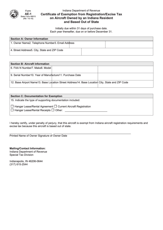 Form Ae-1 - Certificate Of Exemption From Registration/excise Tax On Aircraft Owned By An Indiana Resident And Based Out Of State - Department Of Revenue