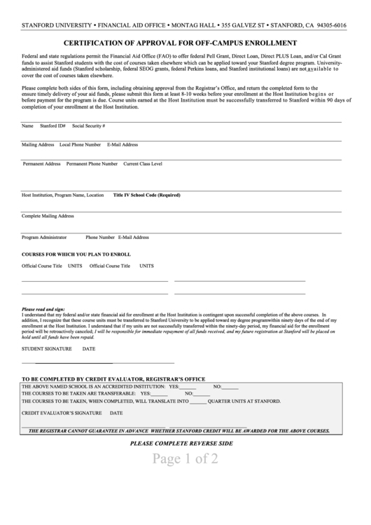 Certification Of Approval For Off-Campus Enrollment Printable pdf