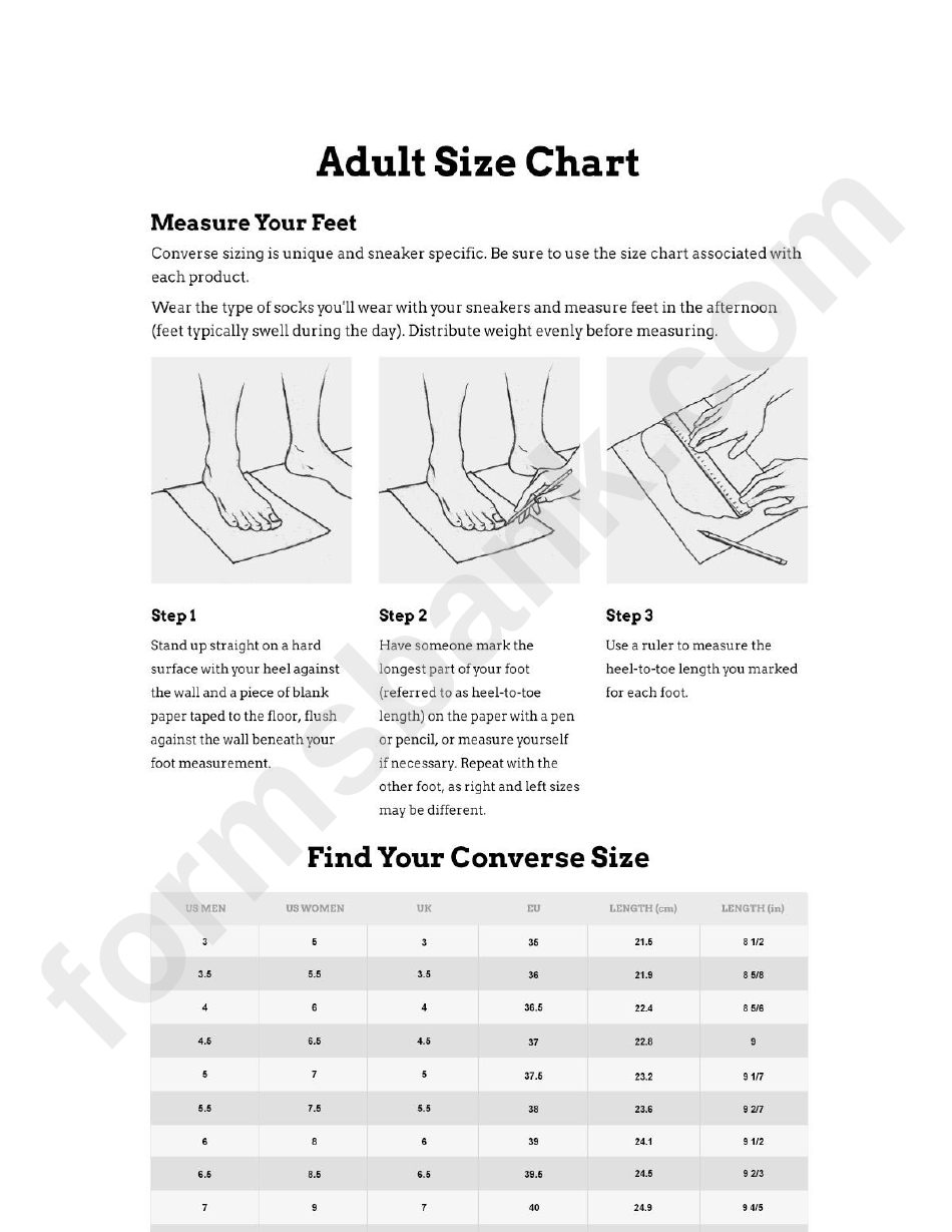 Adult Size Chart Feet Converse Sizing Printable Pdf Download