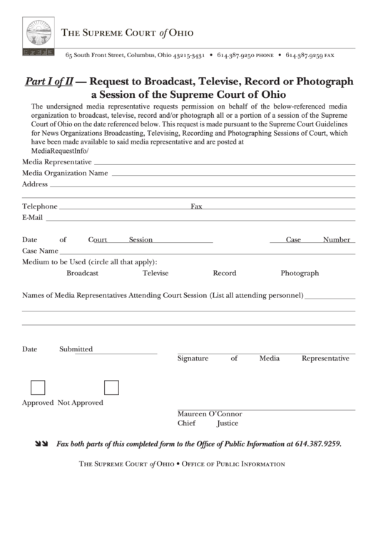 Request To Broadcast, Televise, Record Or Photograph A Session Of The Supreme Court Of Ohio
