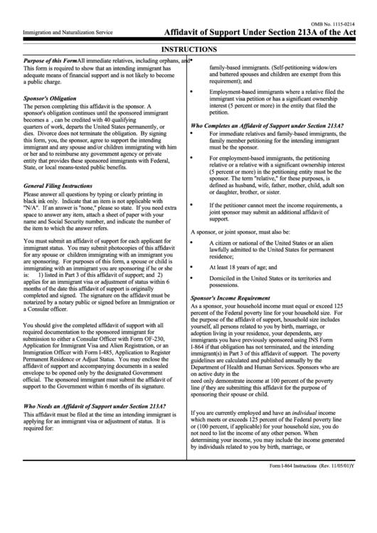 Fillable Form I 864 Affidavit Of Support Under Section 213a