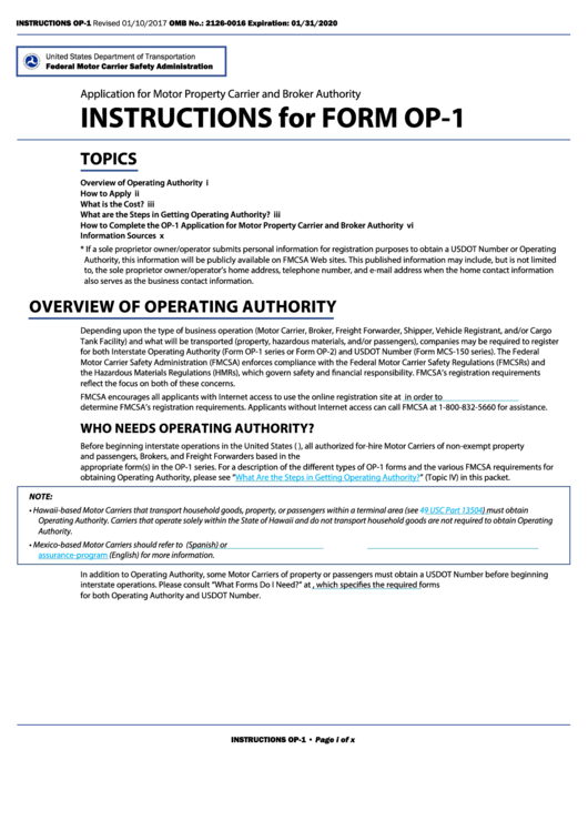 Form Op-1 - Application For Motor Property Carrier And Broker Authority
