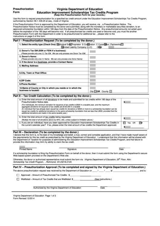 Education Improvement Scholarships Tax Credits Program Preauthorization Form - Virginia Department Of Education Printable pdf
