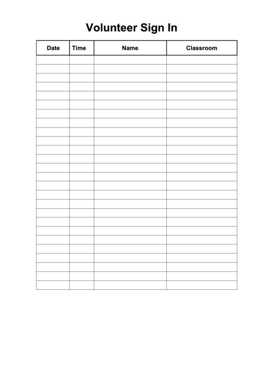 Blank Volunteer Sign-In Sheet Template Printable pdf