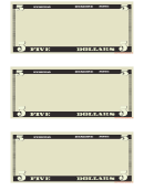 Five Dollar Play Money Template