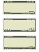 One Hundred Dollars Play Money Template
