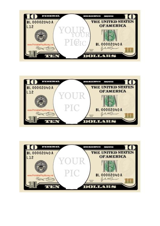 Ten Dollar Bill Photo Frame Template Printable pdf