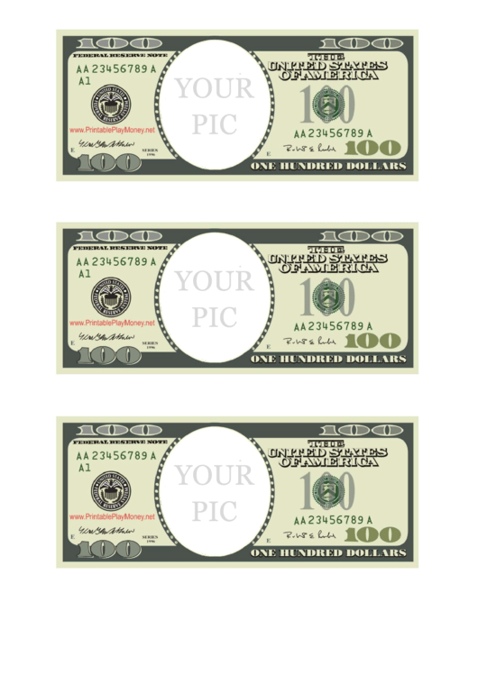 One Hundred Dollar Bill Photo Frame Template Printable pdf