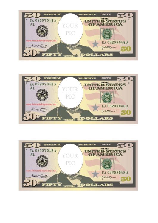 Fifty Dollar Bill Photo Frame Template Printable pdf