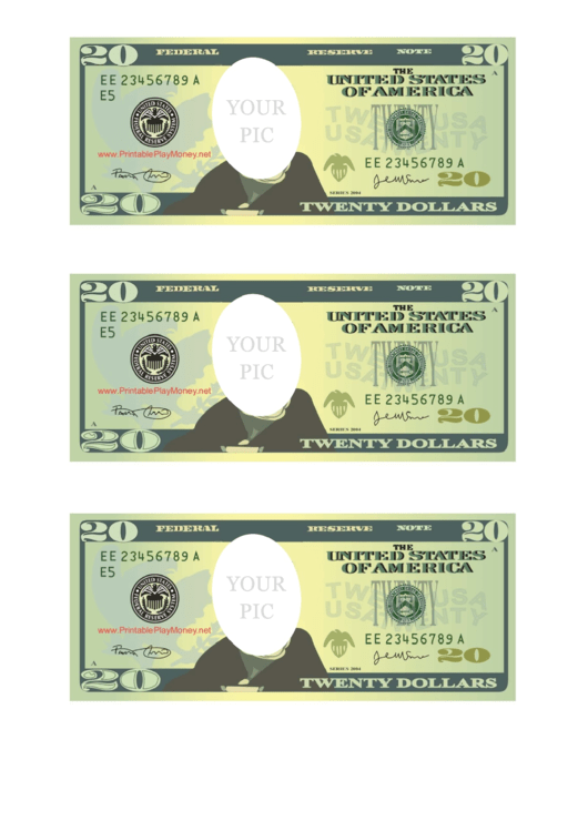 Twenty Dollar Bill Photo Frame Template printable pdf download