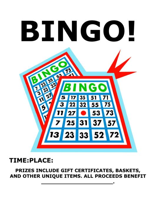 Bingo Fundraiser Sign