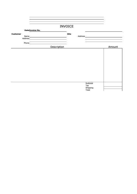 Invoice Template - Empty, Horizontal