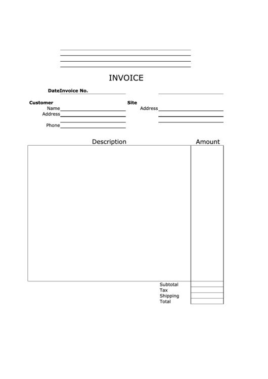 Invoice Template - Empty, Vertical