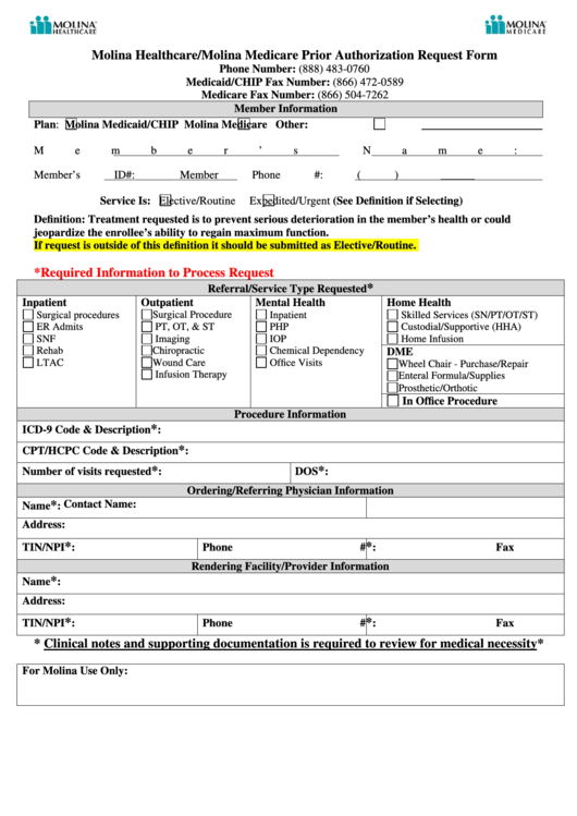 Molina Healthcare/molina Medicare Prior Authorization Request Form Printable pdf