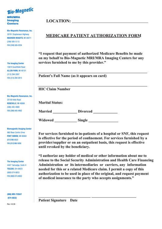 Medicare Patient Authorization Form Printable pdf
