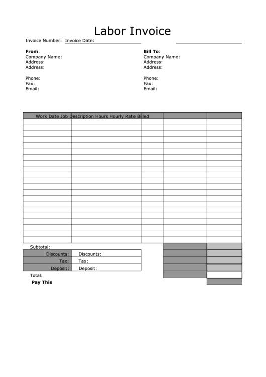 Labor Invoice Template - Black And White Printable pdf