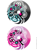 Black Pink Swirling Notes Music Cd-dvd Labels