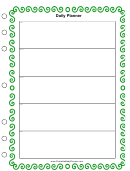 Daily Planner Template - Green Border