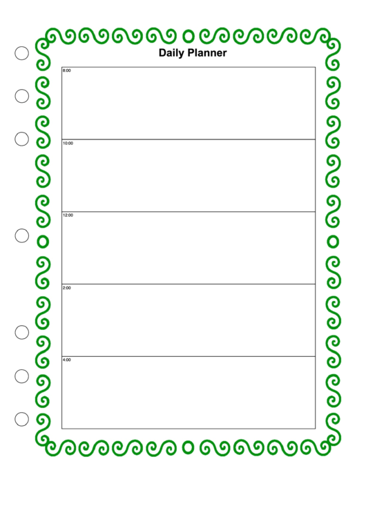Daily Planner Template - Green Border Printable pdf