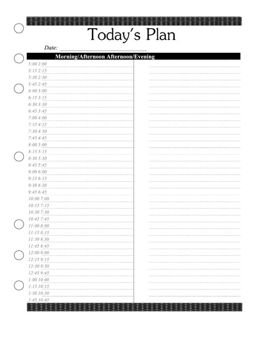 Daily Planner Template Printable pdf