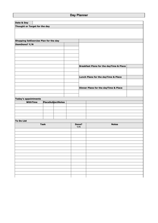 Day Planner Template Printable pdf