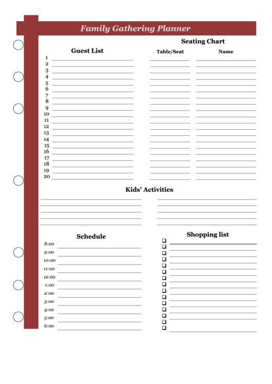 Family Gathering Planner Template Printable pdf