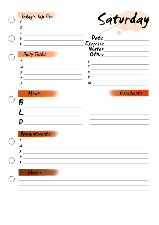 Saturday Planner Printable pdf