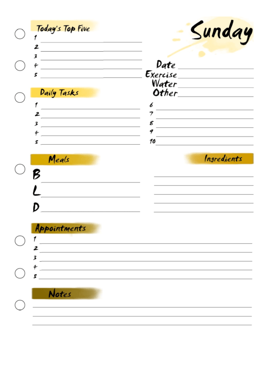 Sunday Planner Printable pdf