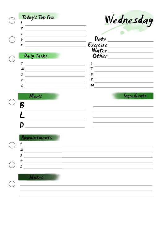 Wednesday Planner Printable pdf