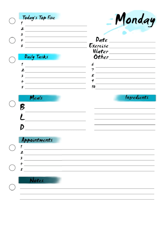 Monday Planner Printable pdf