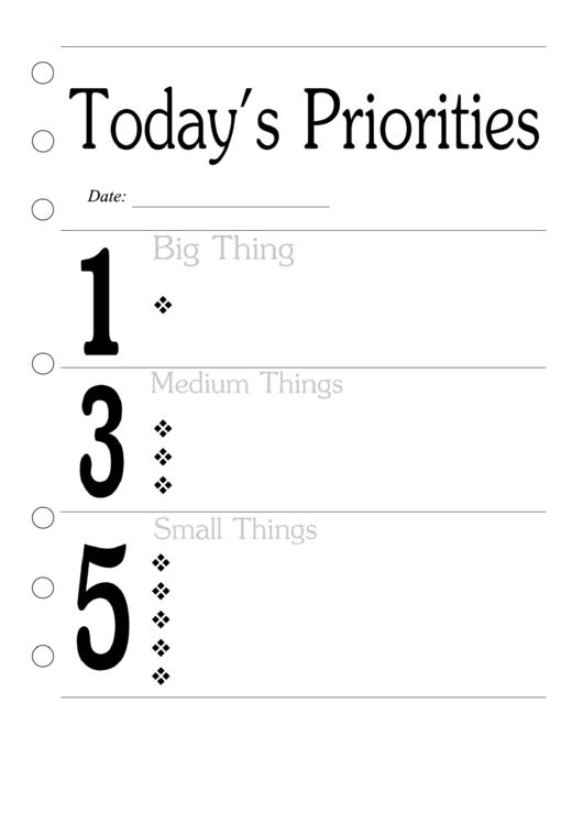 Todays Priorities Planner Printable pdf