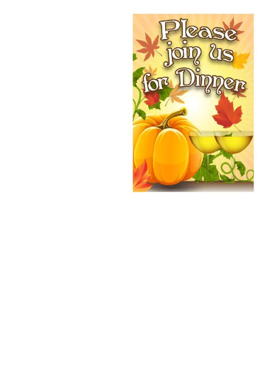 Join Us For Dinner Thanksgiving Invitation Template Printable pdf
