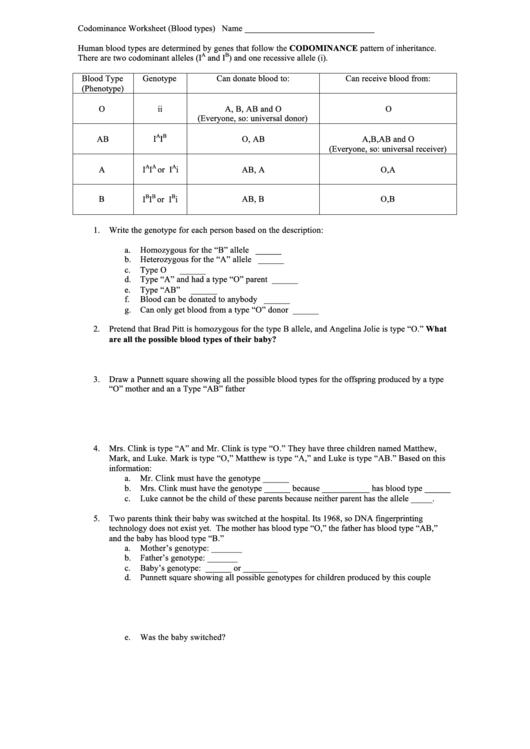 Incomplete And Codominance Worksheet - Checks Worksheet