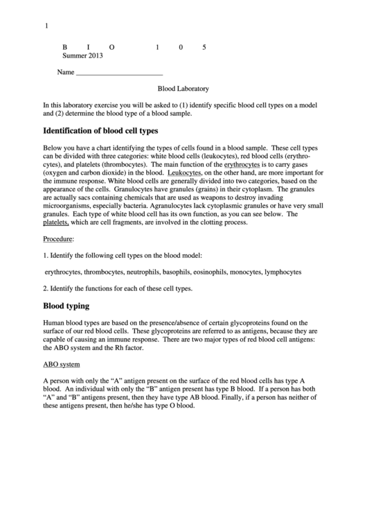 Blood Laboratory Lab Report Template