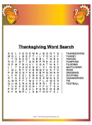 Thanksgiving Turkey Word Search Template