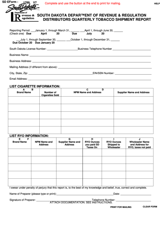 Fillable Form Sd Eform - 1789 V7 - Distributors Quarterly Tobacco Shipment Report - South Dakota Department Of Revenue & Regulation Printable pdf