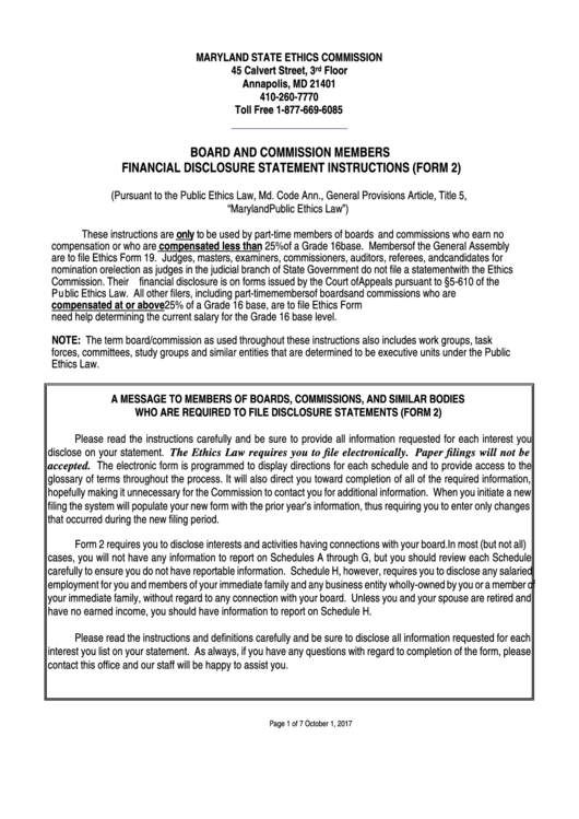 Board And Commission Members Financial Disclosure Statement Instructions (form 2) - Maryland State Ethics Commission