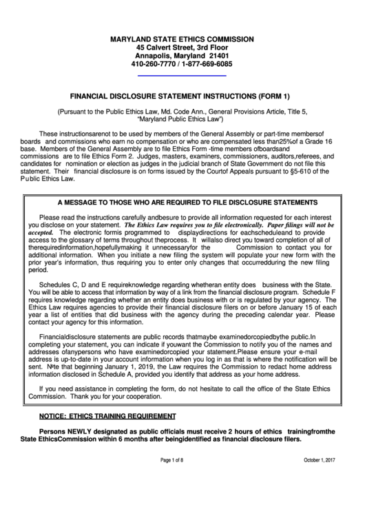 Financial Disclosure Statement Instructions (form 1) - Maryland State Ethics Commission