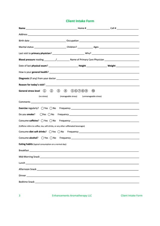 client intake form printable pdf download