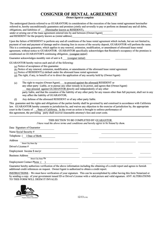 Fillable Cosigner Of Rental Agreement Printable pdf